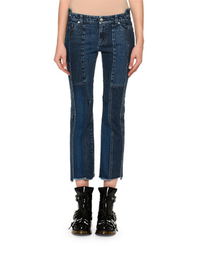 Cropped Patchwork Denim Jeans