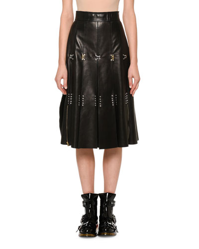 Studded Leather A-Line Skirt
