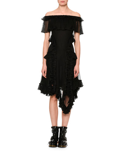 Off-Shoulder Ruffle-Hem Dress