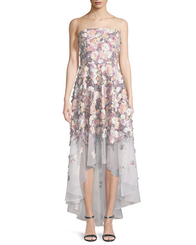 Floral-Embroidered Strapless High-Low Gown