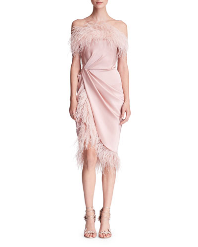 Feather-Embellished Satin Cocktail Dress