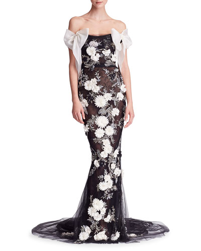 Off-Shoulder Floral-Embellished Mermaid Gown