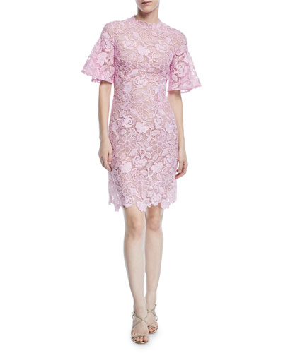 Short-Sleeve Scalloped Lace Sheath Dress