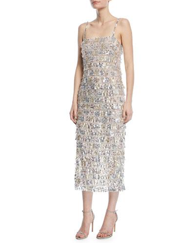 Sequined Tier-Fringe Midi Cocktail Dress