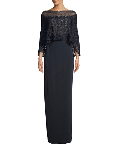 Crepe Column Gown w/Lace Cape