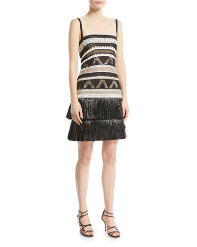 Crocheted Fringe-Hem Cocktail Dress