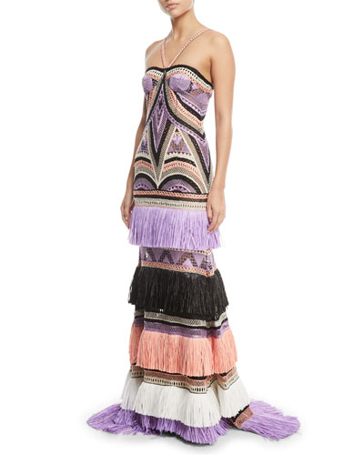 Crocheted Tier-Fringe Halter Gown
