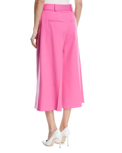 Belted Stretch-Wool Culotte Pants