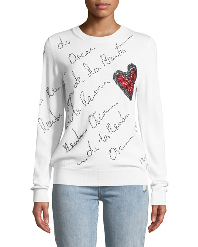 Signature-Embroidered Heart Sweater