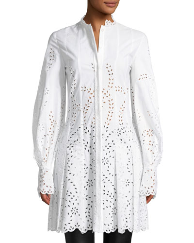 Long-Sleeve Button-Front Eyelet Shirtdress