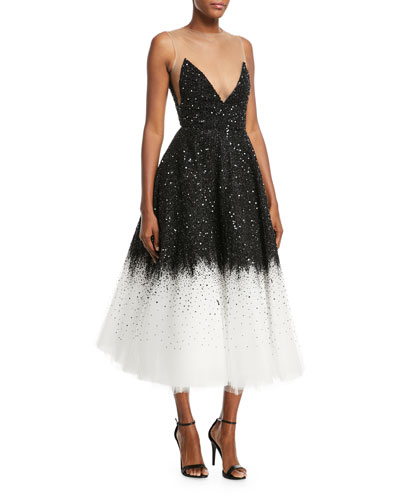 Illusion V-Neck Beaded Ombre Tulle Midi Gown