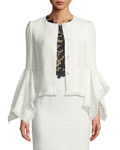 Fringed Tweed Bell-Sleeve Jacket