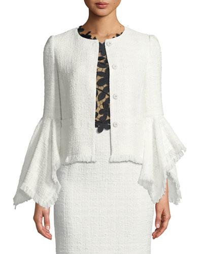 Fringed Tweed Bell-Sleeve Jacket