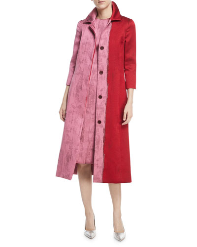 Colorblock Jacquard A-Line Coat
