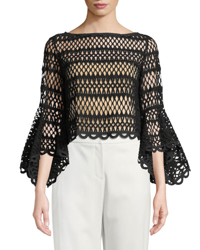 Caged Knit Bell-Sleeve Top