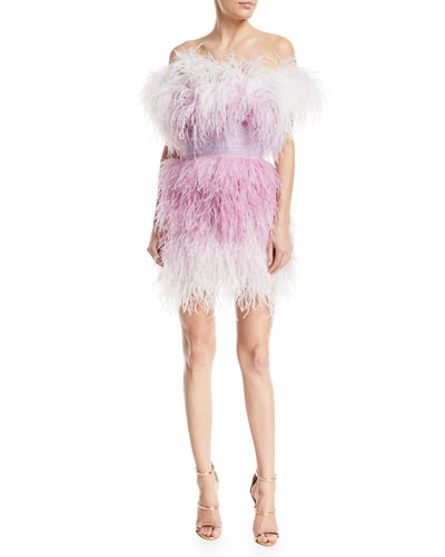 Off-the-Shoulder Feather Tulle Cocktail Dress
