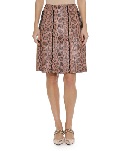 Leopard-Print Anaconda Skirt