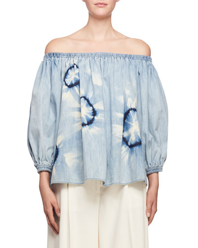 Off-the-Shoulder Puff-Sleeve Printed Top