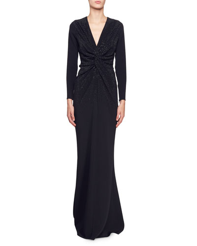 CRYSTAL-EMBELLISHED CADY GOWN