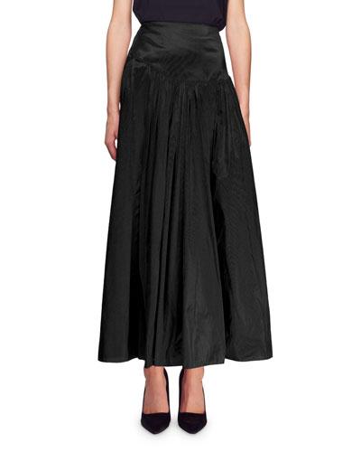 Ruched Satin Maxi Skirt