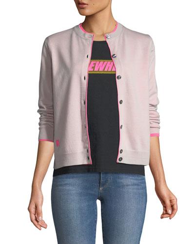 Button-Front Long-Sleeve Merino Wool Cardigan