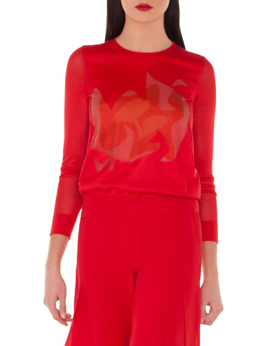 Long-Sleeve Double-Layer Intarsia Silk-Blend Top