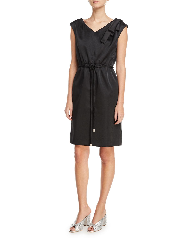 Cap-Sleeve Drawstring Satin Dress