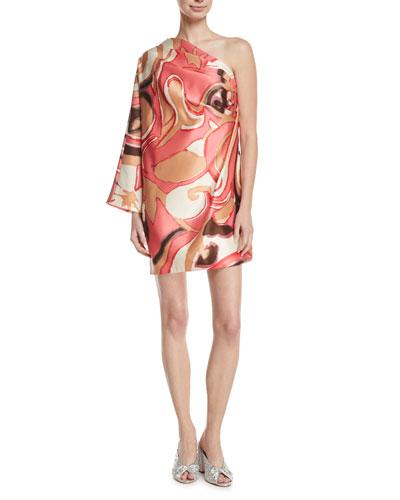 Satin One-Shoulder Mini Dress