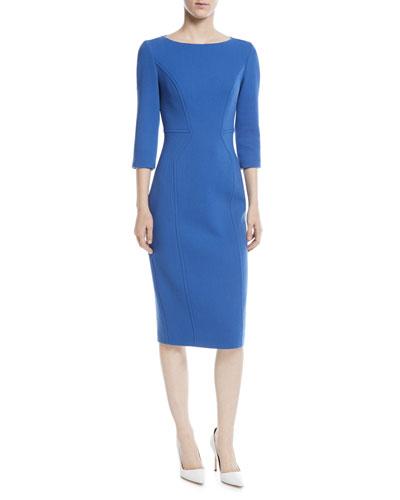 3/4-Sleeve Stretch Boucle Crepe Dress