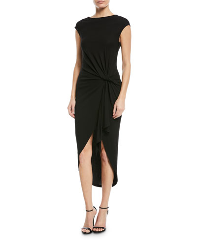 Twisted Cap-Sleeve Jersey Midi Dress