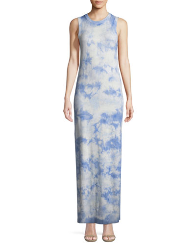 Sleeveless Crewneck Tie-Dye Maxi Dress