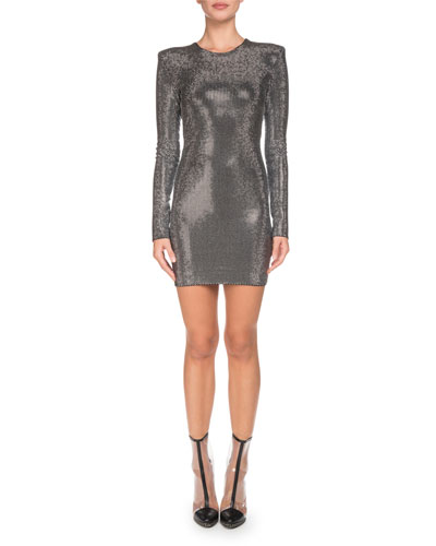 Silvertone Strass Long-Sleeve Mini Dress