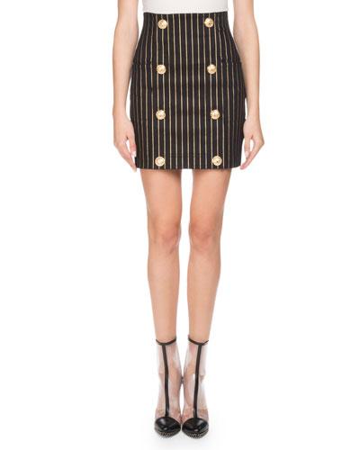 Metallic-Striped Mini Skirt