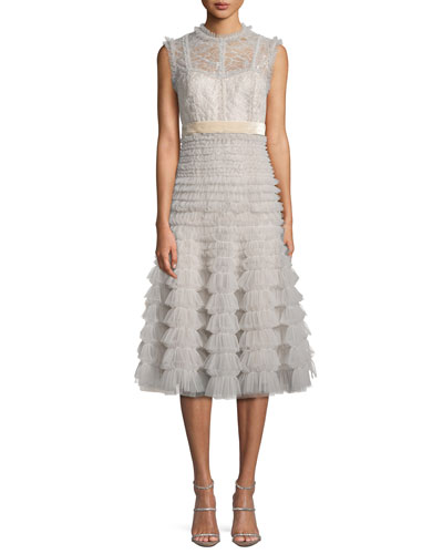 Sleeveless Lace Midi Cocktail Dress w/ Tulle Skirt