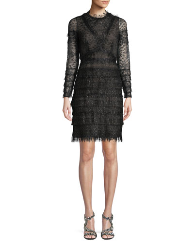 Long-Sleeve Metallic Lace Cocktail Dress