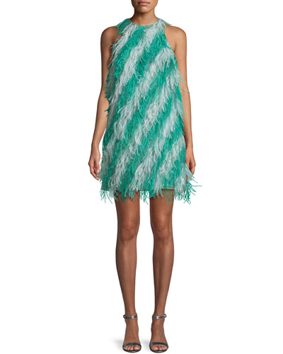Sleeveless Feather-Striped Cocktail Dress