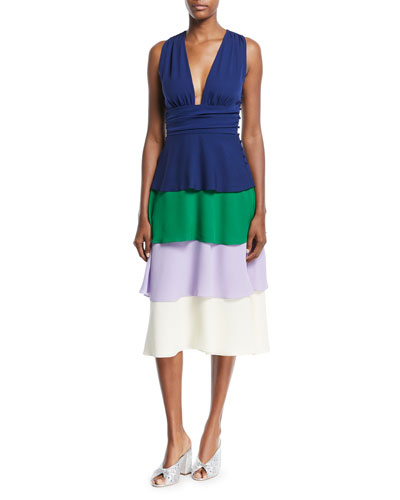V-Neck Sleeveless Layered Cocktail Dress