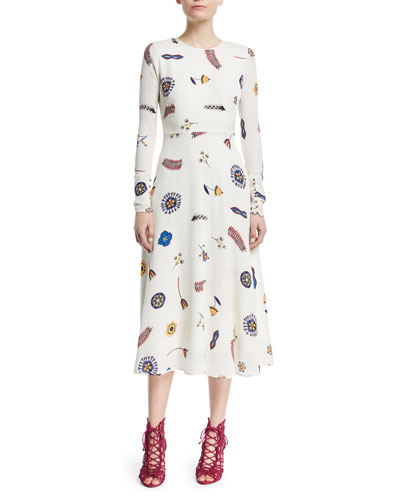Canaan Long-Sleeve Printed Fit-and-Flare Dress