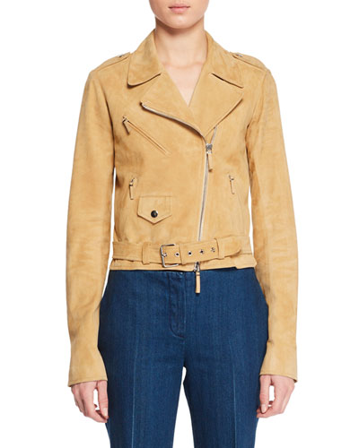 Perlin Zip-Front Leather Jacket