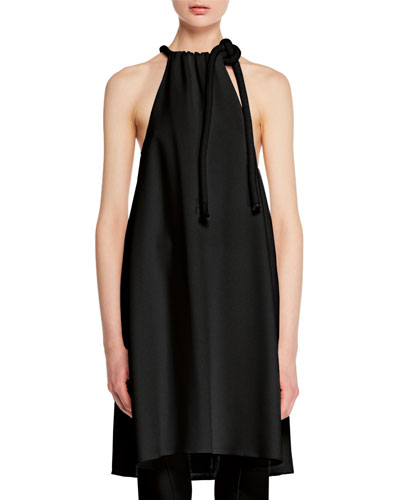 Sapron Sleeveless Halter Crepe Tunic Top