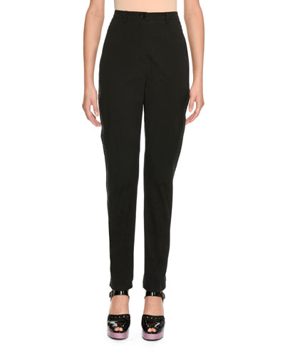 High-Waist Stretch-Cotton Pants