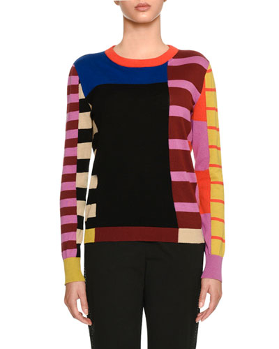 Mixed-Stripe Crewneck Sweater