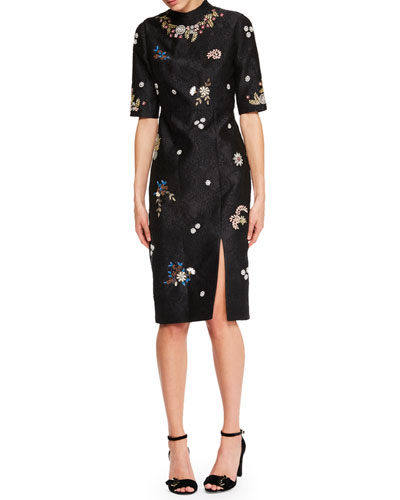 Tula Half-Sleeve Jacquard Dress with Beaded Embellishments