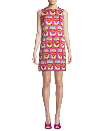 Amore-Print Sleeveless Shift Dress