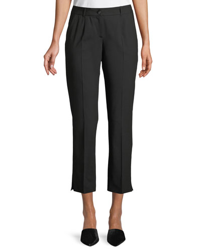 Kate Cropped Straight-Leg Classic Stretch-Wool Pants
