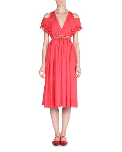 Cold-Shoulder Taffeta Midi Dress