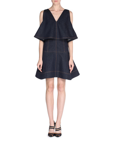 Sleeveless Denim Dress w/Cape