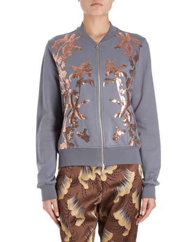 Hassold Palm-Embroidered Cotton Bomber Jacket