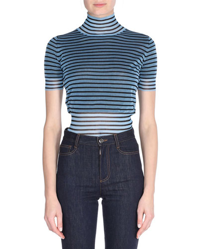 Striped Mock-Neck Pullover Top