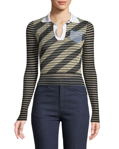 Long-Sleeve Shaded Striped Polo Knit Top
